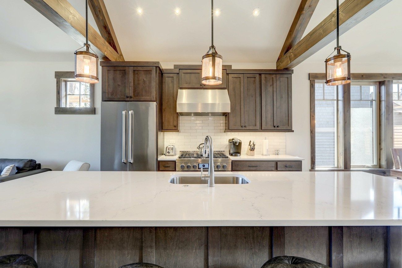 Modern kitchen with hanging lights